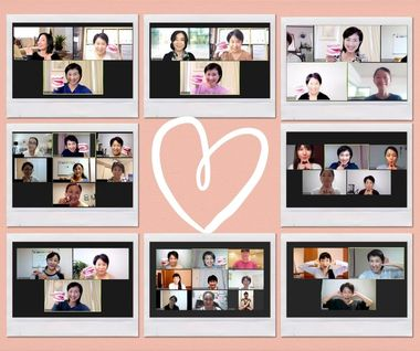 34717_pink handdrawn heart polaroid photo collage のコピー