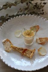 145040_タラの白子のムース、玉ねぎのタルト添え